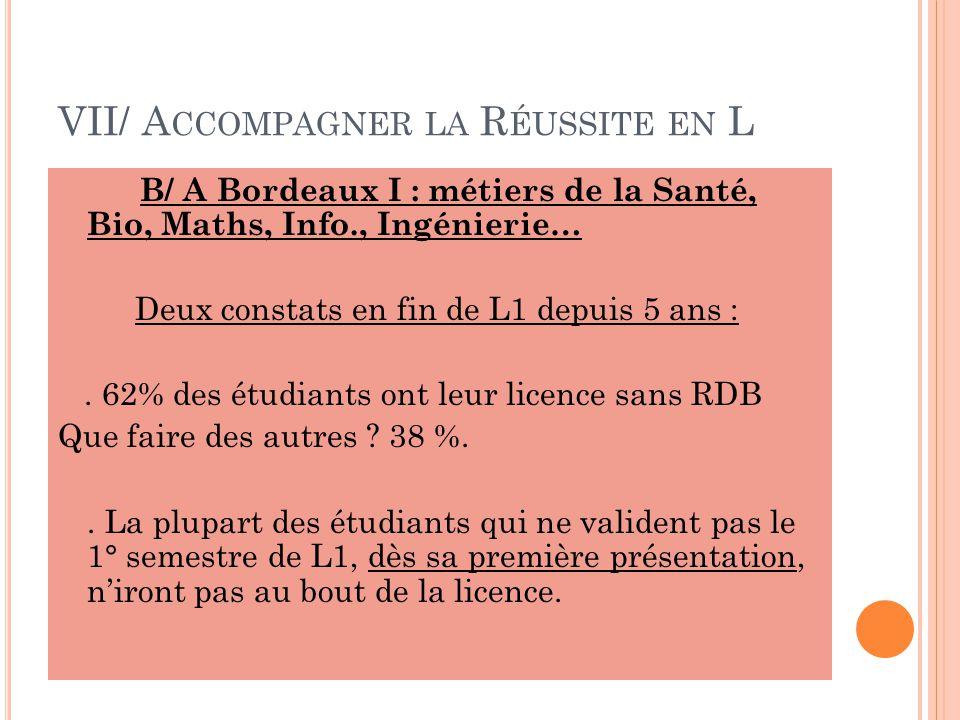 VII/ A CCOMPAGNER LA R ÉUSSITE EN L B/ A Bordeaux I : métiers de la Santé, Bio, Maths, Info., Ingénierie… Deux constats en fin de L1 depuis 5 ans :.