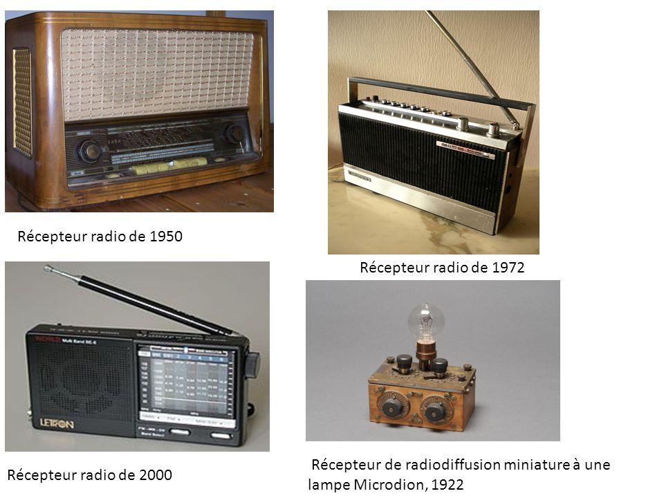 Récepteur radio de 1950 Récepteur radio de 1972 Récepteur radio de 2000 Récepteur de radiodiffusion miniature à une lampe Microdion, 1922