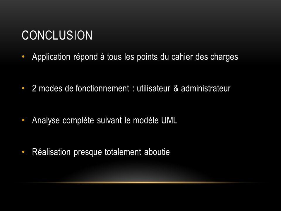 CONCLUSION Application répond à tous les points du cahier des charges 2 modes de fonctionnement : utilisateur & administrateur Analyse complète suivant le modèle UML Réalisation presque totalement aboutie