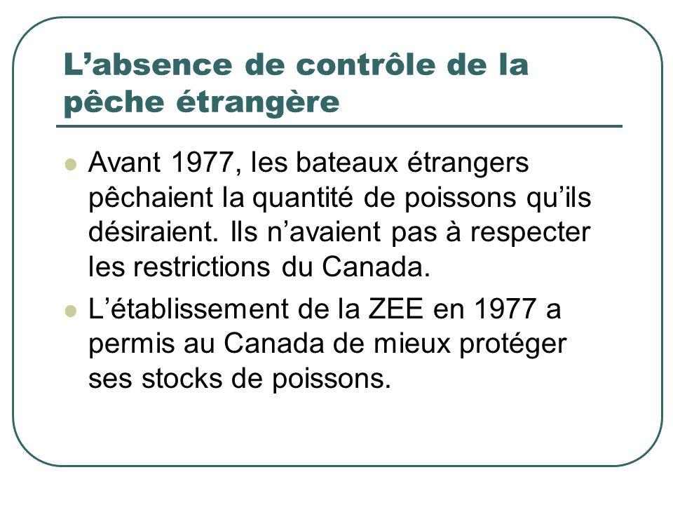 L'absence de contrôle de la pêche étrangère Avant 1977, les bateaux étrangers pêchaient la quantité de poissons qu'ils désiraient. Ils n'avaient pas à
