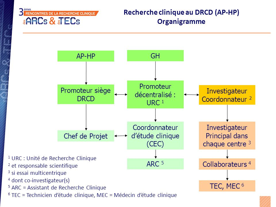  DRCD 790 études  Référents projets URC : Coordinateur d'études cliniques (CEC) Siège : Chef de projets (CP) et chef de projet assistant (CPA)  ARC & TEC Métiers de la Recherche Clinique au DRCD (AP-HP)