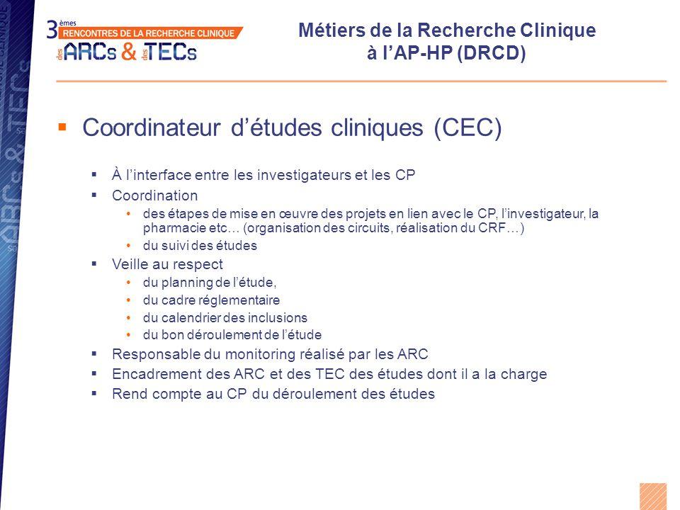 Métiers de la Recherche Clinique au DRCD (AP-HP)  Chef de projets (CP)  Gestion d'un portefeuille de protocoles de recherche clinique à promotion AP-HP (30 à 60 projets): appels d'offres ministériels et institutionnels, projets financés par l'industrie pharmaceutique ou des associations  Responsable de l'instruction technico-réglementaire Analyse de la faisabilité et qualification des projets Organisation logistique des essais (en lien avec les URC, l'AGEPS etc…) Soumission aux autorités compétentes (CPP, AFSSAPS, CCTIRS, CNIL) Rédaction des contrats (centres, laboratoires pharmaceutiques, Inserm, CNRS etc…) Suivi budgétaire (en lien avec la gestion)  Responsable du bon déroulement des études Suivi des inclusions Suivi du monitoring Assurer la sécurité des patients en surveillant la survenue des EIG (en lien avec la vigilance) Mise en place d'actions correctives en cas de retard dans l'essai, de déviations au protocole ou à la réglementation Respect du budget (en lien avec la gestion)  Engage la responsabilité du promoteur lors d'éventuels contrôles des autorités Le CP est assisté d'un chef de projet assistant (CPA) pour l'ensemble de ses missions