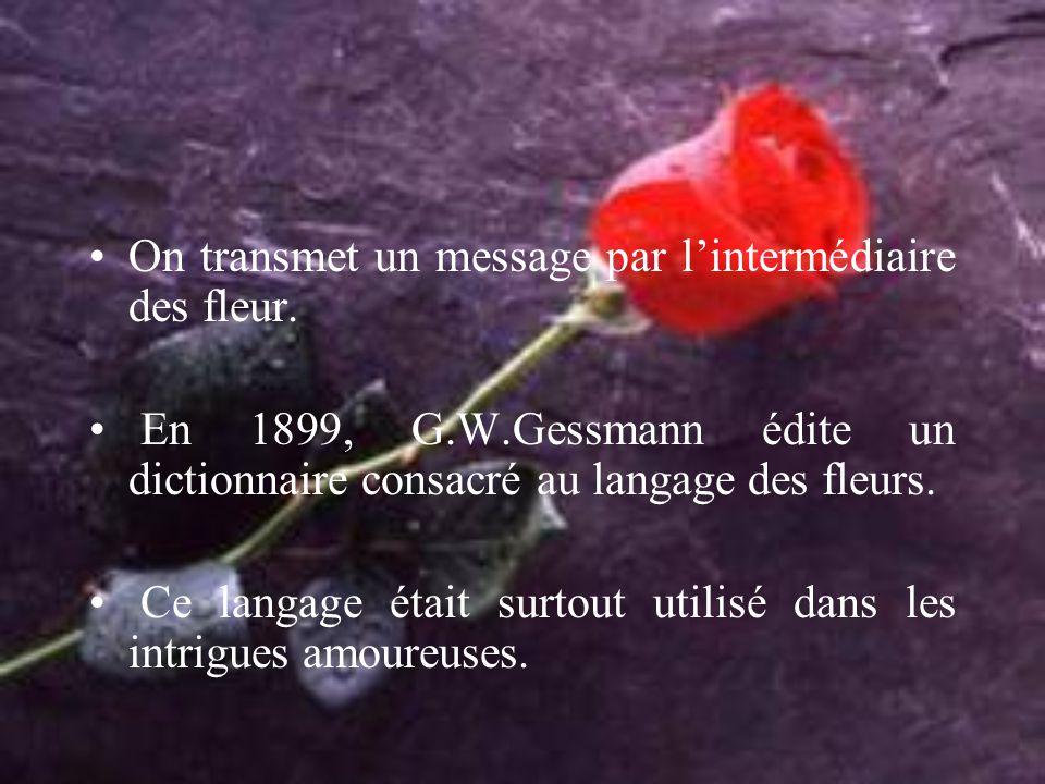 On transmet un message par l'intermédiaire des fleur. En 1899, G.W.Gessmann édite un dictionnaire consacré au langage des fleurs. Ce langage était sur