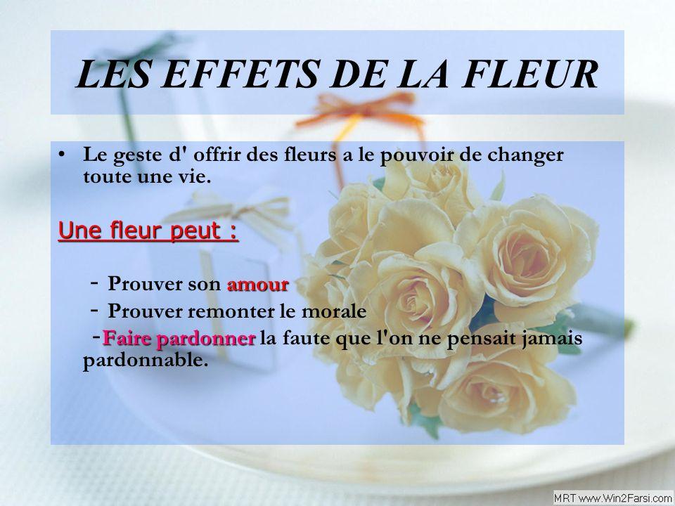 LES EFFETS DE LA FLEUR Le geste d' offrir des fleurs a le pouvoir de changer toute une vie. Une fleur peut : amour - Prouver son amour - Prouver remon