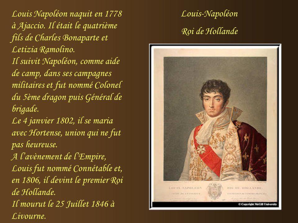La Reine Hortense naquit à Paris en 1783 et elle mourut en 1837. Elle était la fille d'Alexandre de Beauharnais et de Joséphine Tascher de la Pagerie.