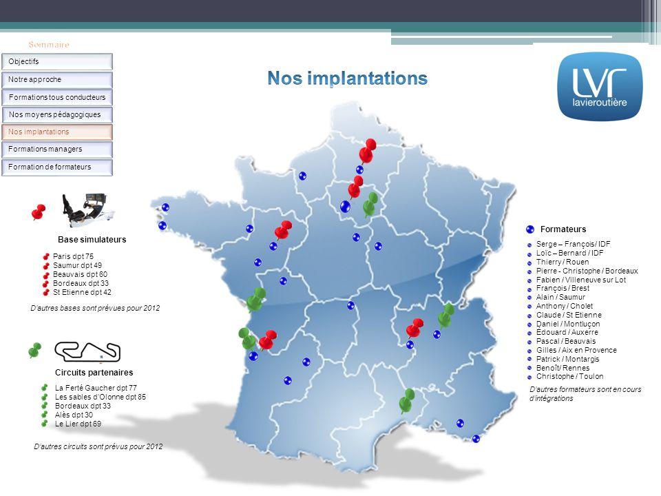Base simulateurs Circuits partenaires Formateurs Paris dpt 75 Saumur dpt 49 Beauvais dpt 60 Bordeaux dpt 33 St Etienne dpt 42 D'autres bases sont prév