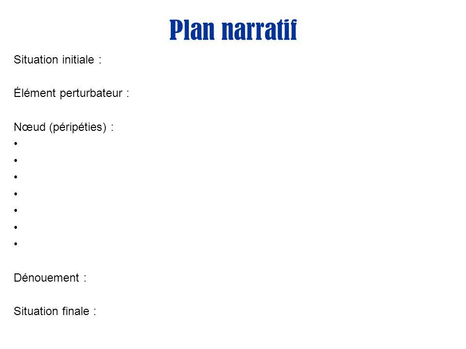 Plan narratif Situation initiale : Élément perturbateur : Nœud (péripéties) : Dénouement : Situation finale :