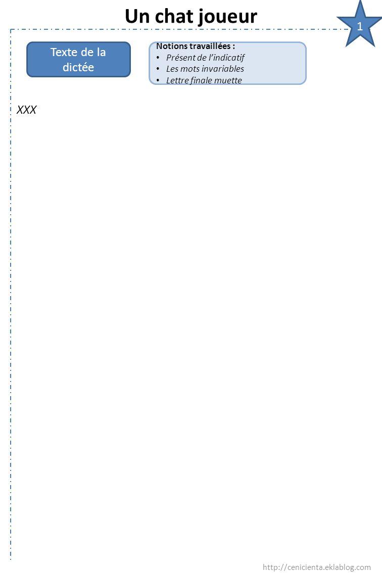 Un chat joueur 1 XXX http://cenicienta.eklablog.com Texte de la dictée Notions travaillées : Présent de l'indicatif Les mots invariables Lettre finale