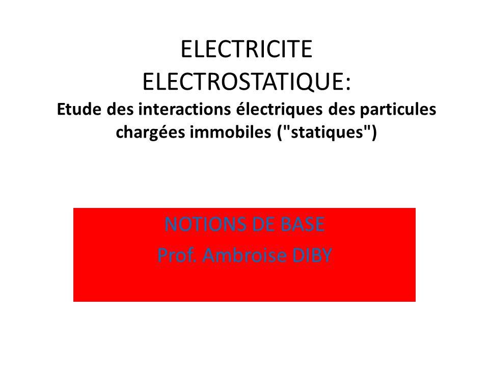ELECTRICITE ELECTROSTATIQUE: Etude des interactions électriques des particules chargées immobiles (