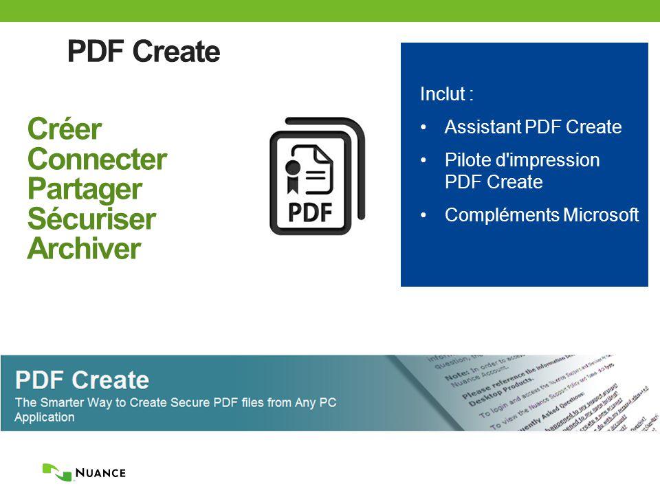 PDF Create Créer Connecter Partager Sécuriser Archiver Inclut : Assistant PDF Create Pilote d impression PDF Create Compléments Microsoft