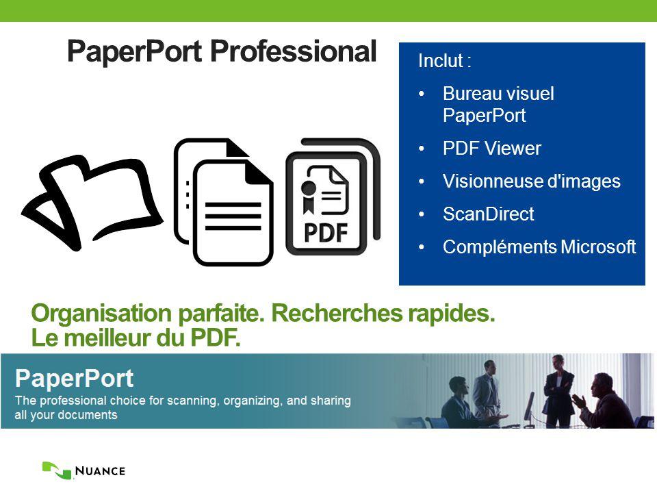 PaperPort Professional Inclut : Bureau visuel PaperPort PDF Viewer Visionneuse d images ScanDirect Compléments Microsoft Organisation parfaite.