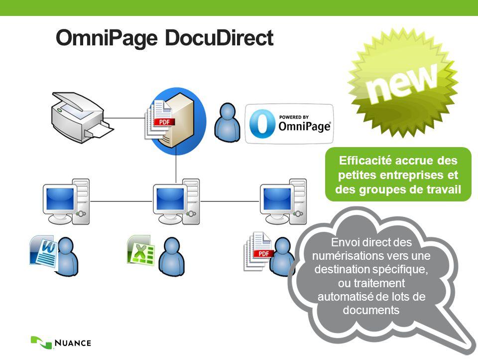 OmniPage DocuDirect Efficacité accrue des petites entreprises et des groupes de travail Envoi direct des numérisations vers une destination spécifique, ou traitement automatisé de lots de documents