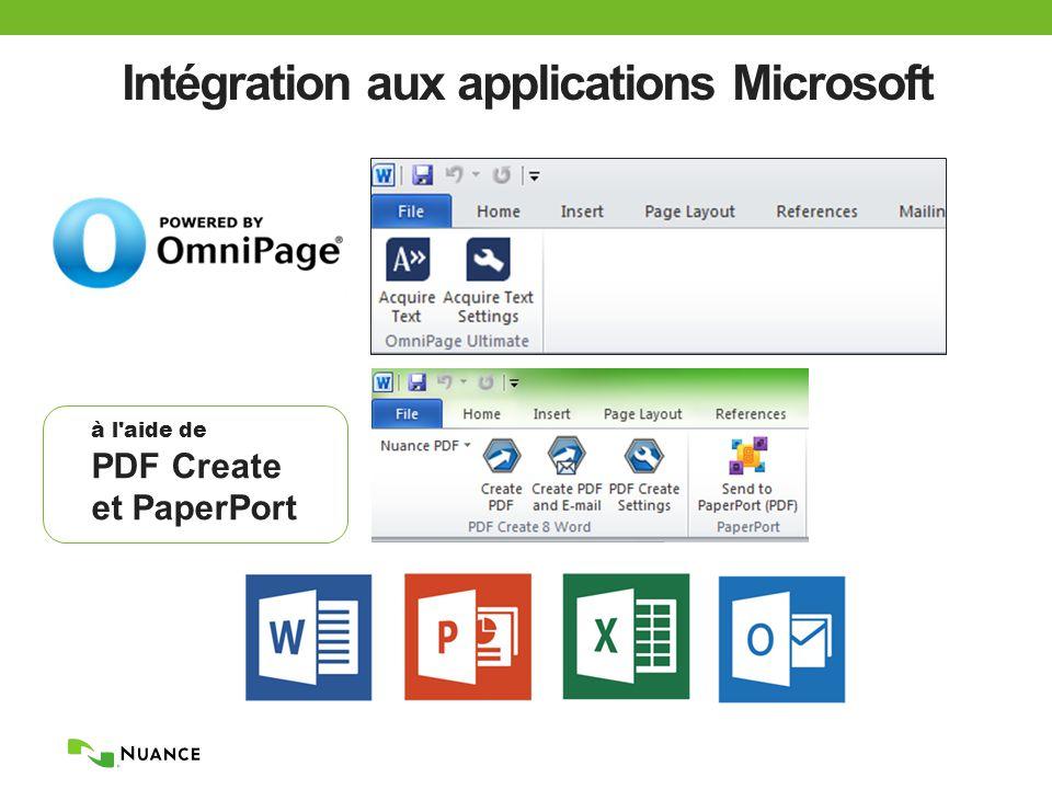 Intégration aux applications Microsoft à l aide de PDF Create et PaperPort