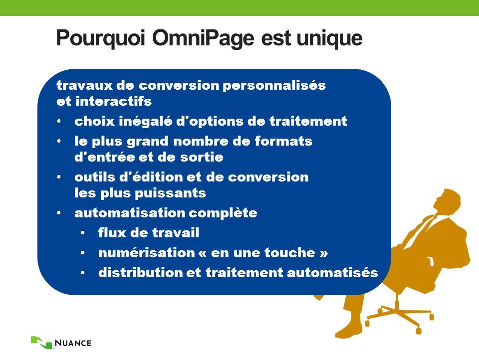 Pourquoi OmniPage est unique travaux de conversion personnalisés et interactifs choix inégalé d options de traitement le plus grand nombre de formats d entrée et de sortie outils d édition et de conversion les plus puissants automatisation complète flux de travail numérisation « en une touche » distribution et traitement automatisés