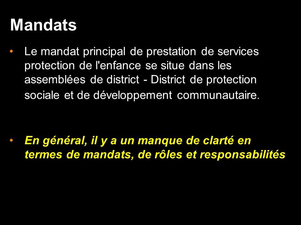 Le mandat principal de prestation de services protection de l enfance se situe dans les assemblées de district - District de protection sociale et de développement communautaire.