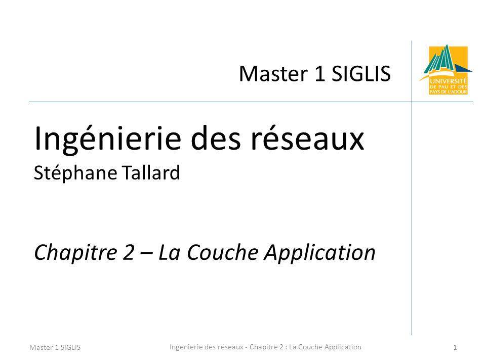 Ingénierie des réseaux - Chapitre 2 : La Couche Application 1 Master 1 SIGLIS Ingénierie des réseaux Stéphane Tallard Chapitre 2 – La Couche Applicati