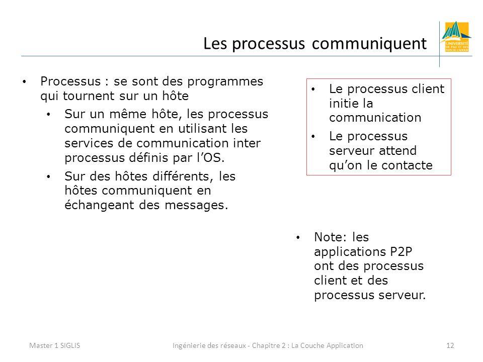 Ingénierie des réseaux - Chapitre 2 : La Couche Application12 Les processus communiquent Master 1 SIGLIS Processus : se sont des programmes qui tournent sur un hôte Sur un même hôte, les processus communiquent en utilisant les services de communication inter processus définis par l'OS.