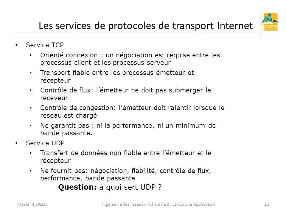 Ingénierie des réseaux - Chapitre 2 : La Couche Application20 Les services de protocoles de transport Internet Master 1 SIGLIS Service TCP Orienté connexion : un négociation est requise entre les processus client et les processus serveur Transport fiable entre les processus émetteur et récepteur Contrôle de flux: l'émetteur ne doit pas submerger le receveur Contrôle de congestion: l'émetteur doit ralentir lorsque le réseau est chargé Ne garantit pas : ni la performance, ni un minimum de bande passante.