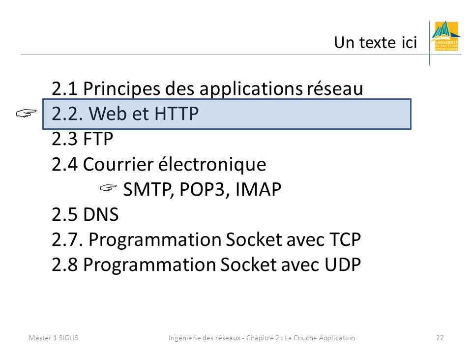 Ingénierie des réseaux - Chapitre 2 : La Couche Application22 Un texte ici Master 1 SIGLIS 2.1 Principes des applications réseau 2.2. Web et HTTP 2.3
