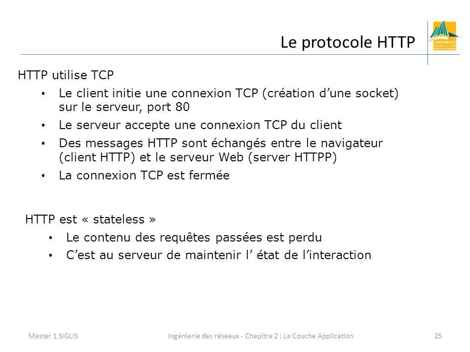 Ingénierie des réseaux - Chapitre 2 : La Couche Application25 Le protocole HTTP Master 1 SIGLIS HTTP utilise TCP Le client initie une connexion TCP (création d'une socket) sur le serveur, port 80 Le serveur accepte une connexion TCP du client Des messages HTTP sont échangés entre le navigateur (client HTTP) et le serveur Web (server HTTPP) La connexion TCP est fermée HTTP est « stateless » Le contenu des requêtes passées est perdu C'est au serveur de maintenir l' état de l'interaction