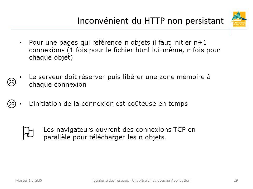 Ingénierie des réseaux - Chapitre 2 : La Couche Application29 Inconvénient du HTTP non persistant Master 1 SIGLIS Pour une pages qui référence n objets il faut initier n+1 connexions (1 fois pour le fichier html lui-même, n fois pour chaque objet) Le serveur doit réserver puis libérer une zone mémoire à chaque connexion L'initiation de la connexion est coûteuse en temps Les navigateurs ouvrent des connexions TCP en parallèle pour télécharger les n objets.