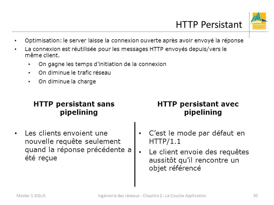 Ingénierie des réseaux - Chapitre 2 : La Couche Application30 HTTP Persistant Master 1 SIGLIS Optimisation: le server laisse la connexion ouverte après avoir envoyé la réponse La connexion est réutilisée pour les messages HTTP envoyés depuis/vers le même client.