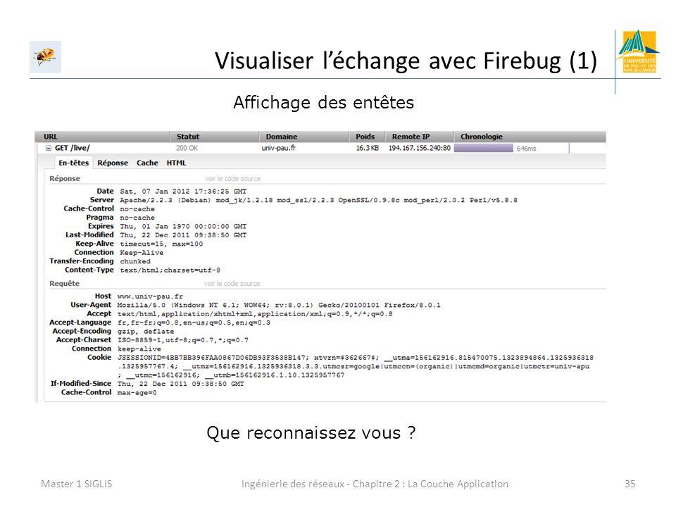 Ingénierie des réseaux - Chapitre 2 : La Couche Application35 Visualiser l'échange avec Firebug (1) Master 1 SIGLIS Affichage des entêtes Que reconnai