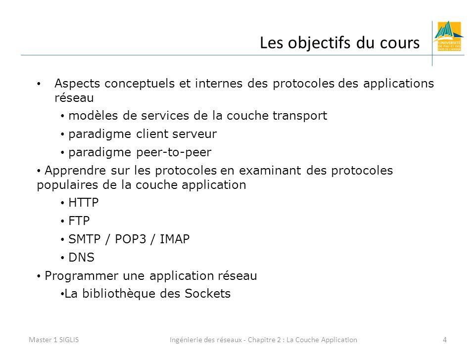 Ingénierie des réseaux - Chapitre 2 : La Couche Application4 Les objectifs du cours Master 1 SIGLIS Aspects conceptuels et internes des protocoles des