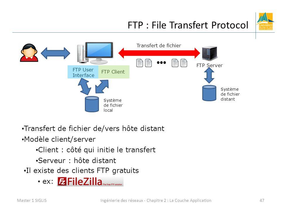 Ingénierie des réseaux - Chapitre 2 : La Couche Application47 FTP : File Transfert Protocol Master 1 SIGLIS FTP Client FTP User Interface FTP Server Transfert de fichier Système de fichier local Système de fichier distant Transfert de fichier de/vers hôte distant Modèle client/server Client : côté qui initie le transfert Serveur : hôte distant Il existe des clients FTP gratuits ex:
