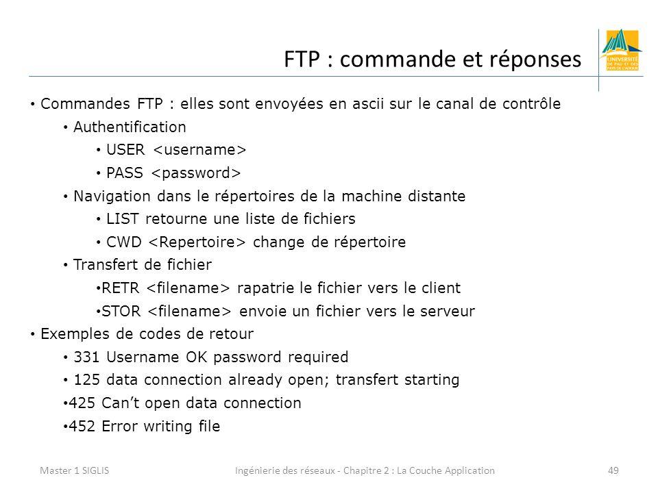 Ingénierie des réseaux - Chapitre 2 : La Couche Application49 FTP : commande et réponses Master 1 SIGLIS Commandes FTP : elles sont envoyées en ascii