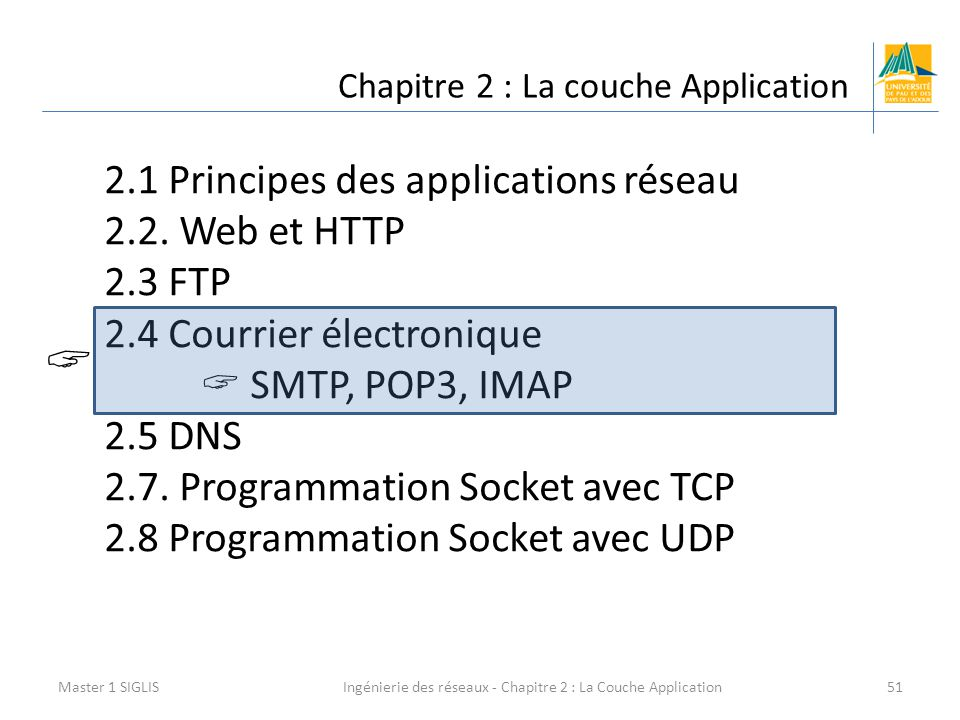 Ingénierie des réseaux - Chapitre 2 : La Couche Application51 Chapitre 2 : La couche Application Master 1 SIGLIS 2.1 Principes des applications réseau 2.2.