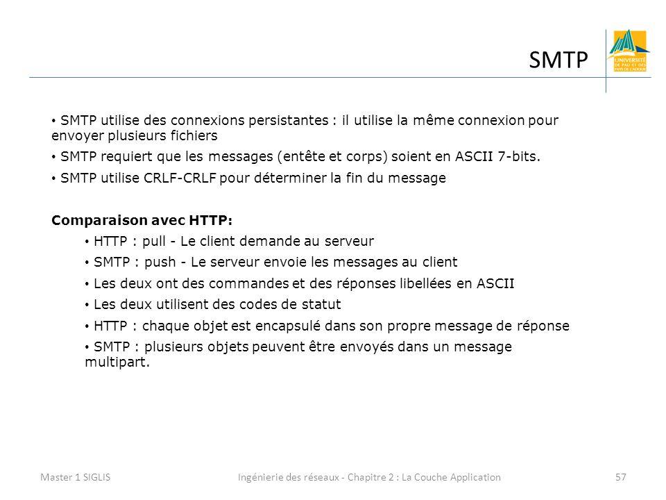 Ingénierie des réseaux - Chapitre 2 : La Couche Application57 SMTP Master 1 SIGLIS SMTP utilise des connexions persistantes : il utilise la même connexion pour envoyer plusieurs fichiers SMTP requiert que les messages (entête et corps) soient en ASCII 7-bits.
