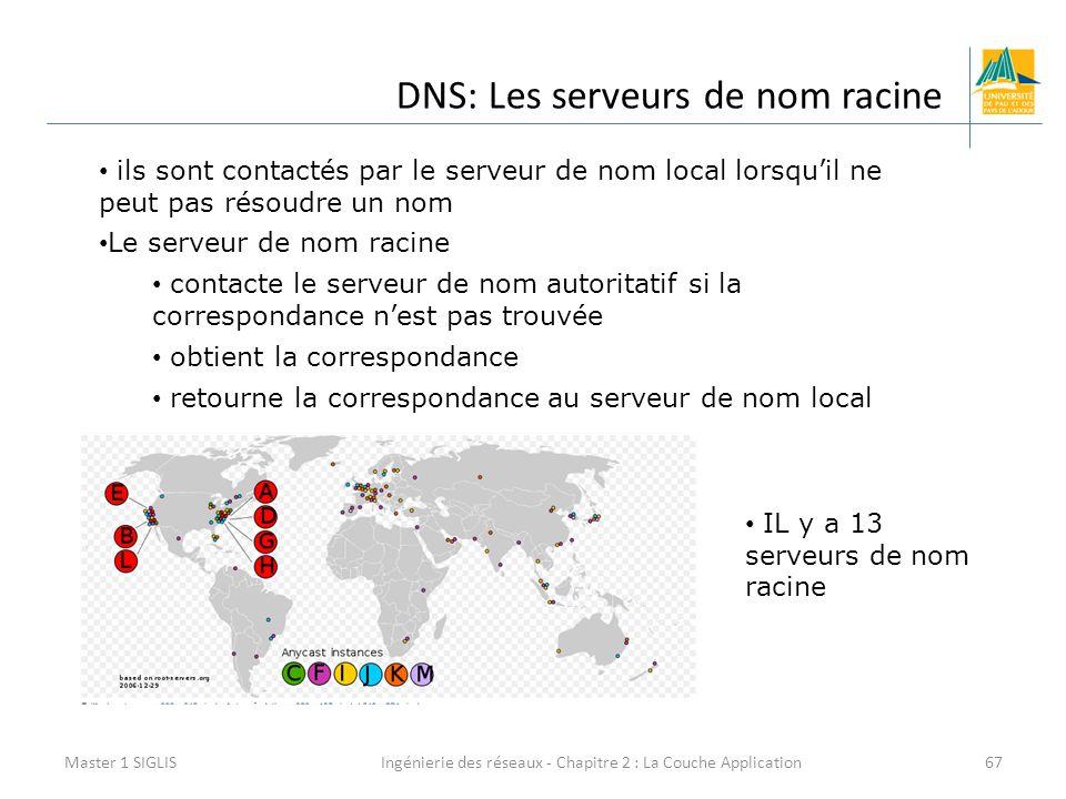 Ingénierie des réseaux - Chapitre 2 : La Couche Application67 DNS: Les serveurs de nom racine Master 1 SIGLIS ils sont contactés par le serveur de nom local lorsqu'il ne peut pas résoudre un nom Le serveur de nom racine contacte le serveur de nom autoritatif si la correspondance n'est pas trouvée obtient la correspondance retourne la correspondance au serveur de nom local IL y a 13 serveurs de nom racine