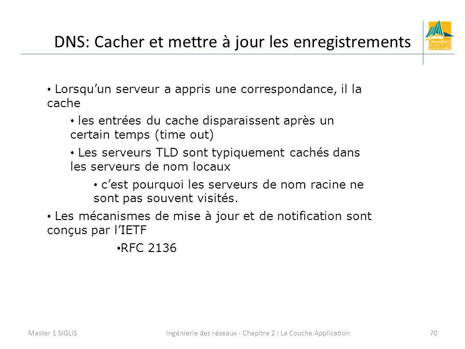 Ingénierie des réseaux - Chapitre 2 : La Couche Application70 DNS: Cacher et mettre à jour les enregistrements Master 1 SIGLIS Lorsqu'un serveur a app