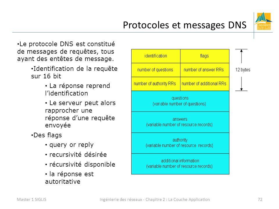 Ingénierie des réseaux - Chapitre 2 : La Couche Application72 Protocoles et messages DNS Master 1 SIGLIS Le protocole DNS est constitué de messages de requêtes, tous ayant des entêtes de message.