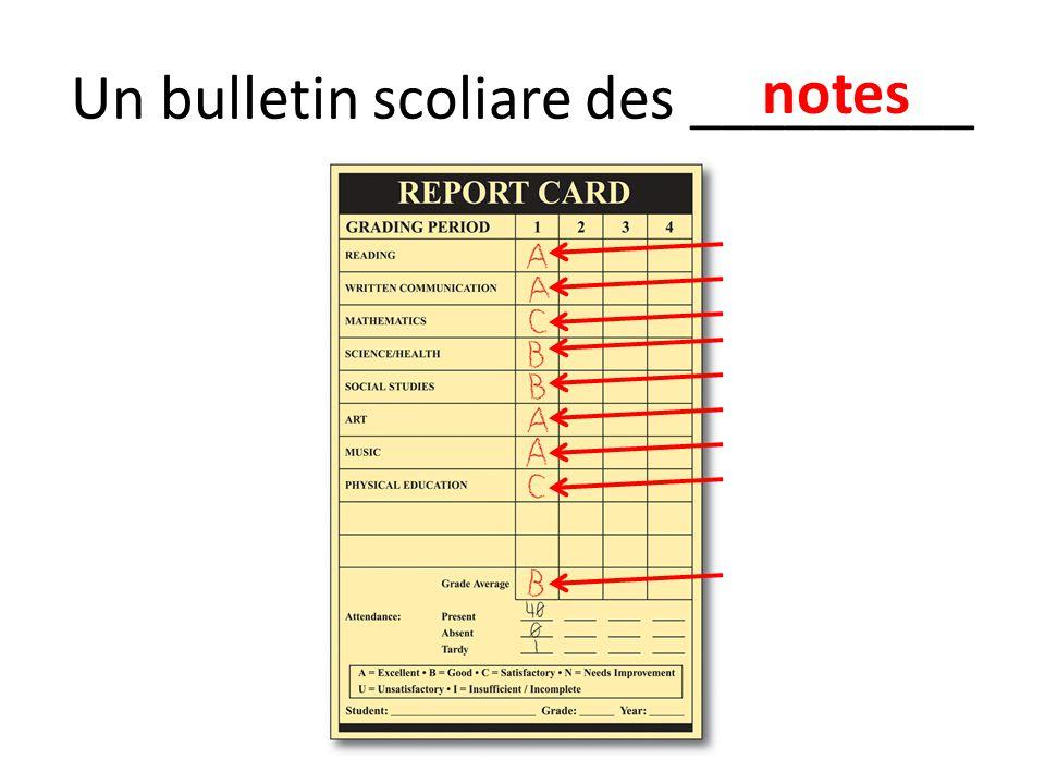 Un bulletin scoliare des _________ notes