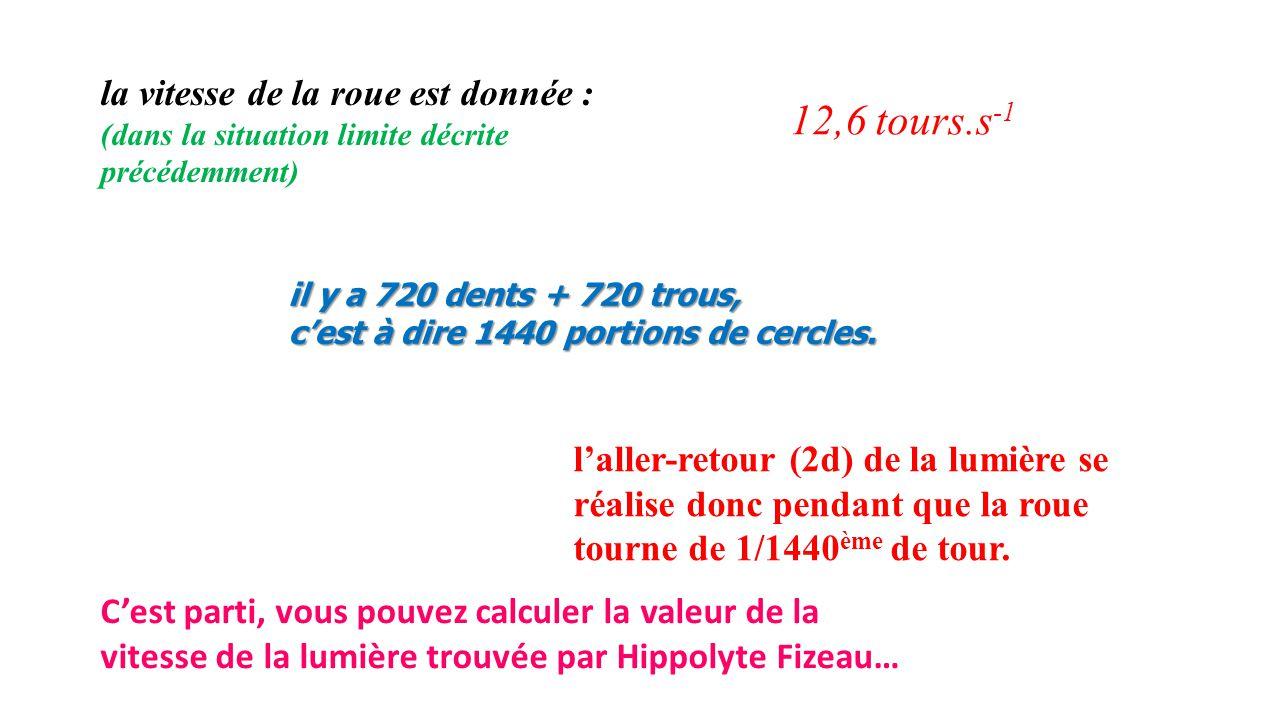 l'aller-retour (2d) de la lumière se réalise donc pendant que la roue tourne de 1/1440 ème de tour. la vitesse de la roue est donnée : (dans la situat