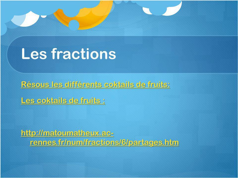Les fractions Résous les différents coktails de fruits: Résous les différents coktails de fruits: Les coktails de fruits : Les coktails de fruits : http://matoumatheux.ac- rennes.fr/num/fractions/6/partages.htm http://matoumatheux.ac- rennes.fr/num/fractions/6/partages.htm