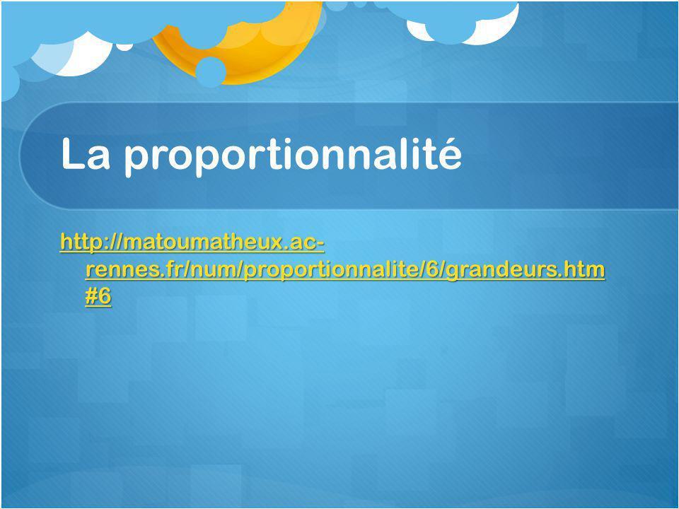 La proportionnalité http://matoumatheux.ac- rennes.fr/num/proportionnalite/6/grandeurs.htm #6 http://matoumatheux.ac- rennes.fr/num/proportionnalite/6/grandeurs.htm #6