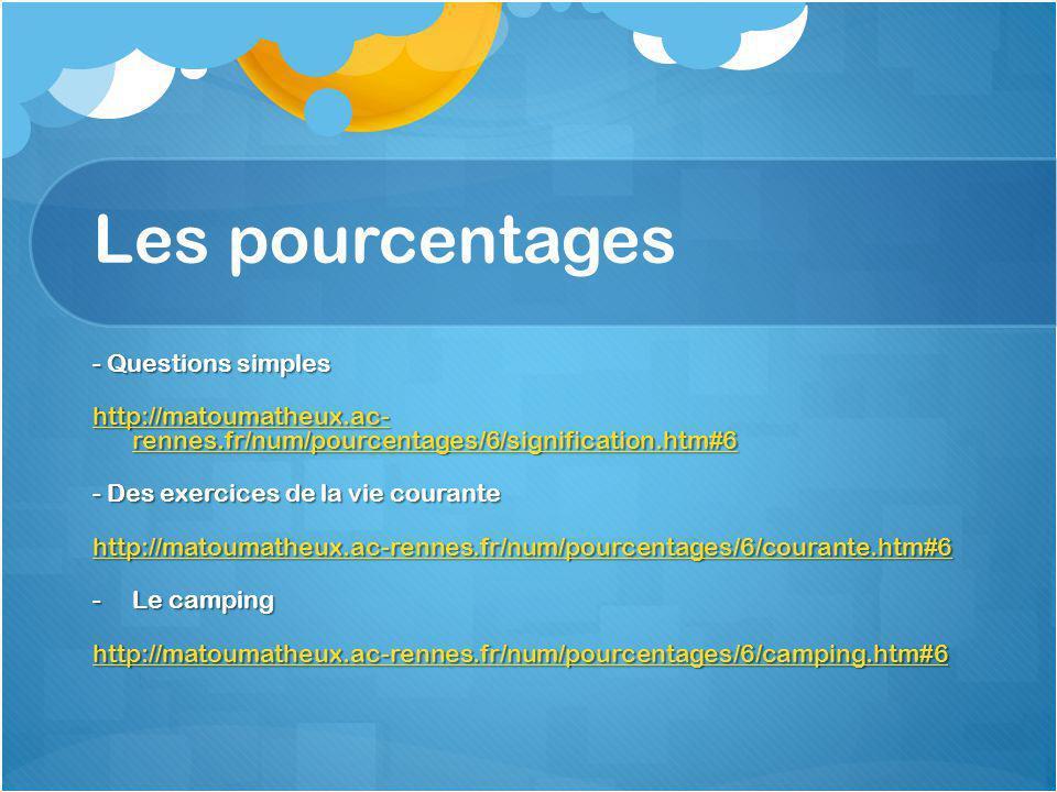 Les pourcentages - Questions simples http://matoumatheux.ac- rennes.fr/num/pourcentages/6/signification.htm#6 http://matoumatheux.ac- rennes.fr/num/pourcentages/6/signification.htm#6 - Des exercices de la vie courante http://matoumatheux.ac-rennes.fr/num/pourcentages/6/courante.htm#6 -Le camping http://matoumatheux.ac-rennes.fr/num/pourcentages/6/camping.htm#6