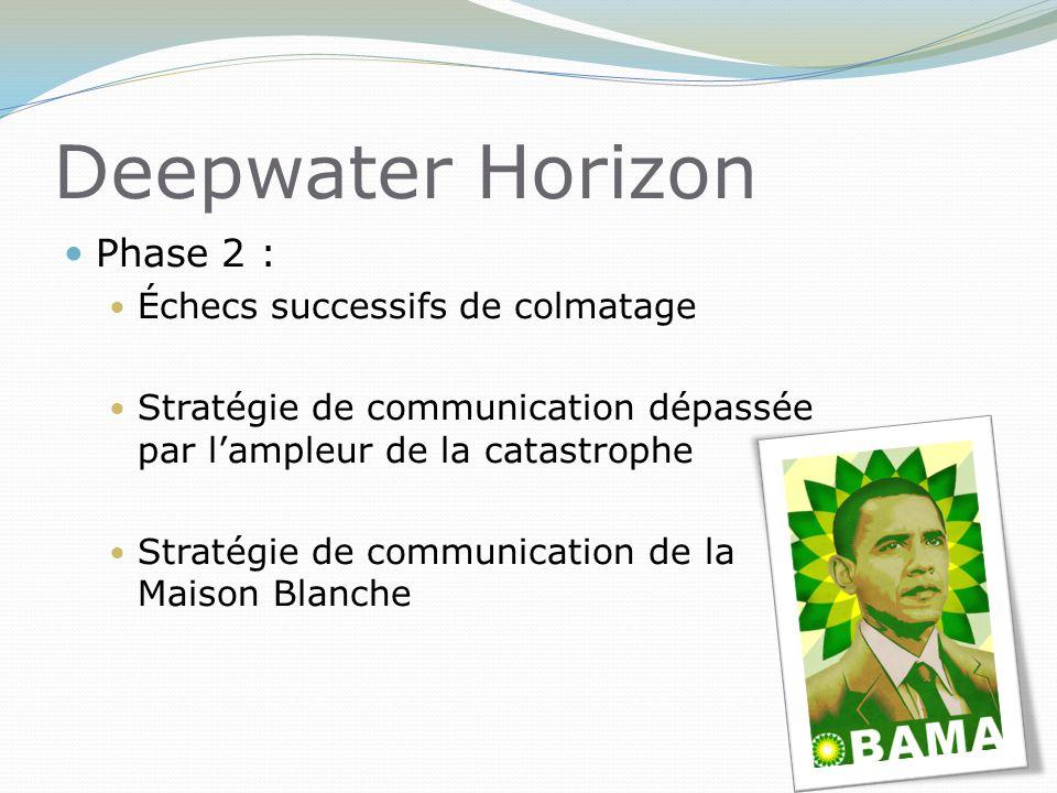 Deepwater Horizon Phase 2 : Échecs successifs de colmatage Stratégie de communication dépassée par l'ampleur de la catastrophe Stratégie de communication de la Maison Blanche