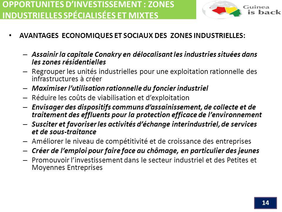 OPPORTUNITES D'INVESTISSEMENT : ZONES INDUSTRIELLES SPÉCIALISÉES ET MIXTES 14 AVANTAGES ECONOMIQUES ET SOCIAUX DES ZONES INDUSTRIELLES: – Assainir la capitale Conakry en délocalisant les industries situées dans les zones résidentielles – Regrouper les unités industrielles pour une exploitation rationnelle des infrastructures à créer – Maximiser l'utilisation rationnelle du foncier industriel – Réduire les coûts de viabilisation et d'exploitation – Envisager des dispositifs communs d'assainissement, de collecte et de traitement des effluents pour la protection efficace de l'environnement – Susciter et favoriser les activités d'échange interindustriel, de services et de sous-traitance – Améliorer le niveau de compétitivité et de croissance des entreprises – Créer de l'emploi pour faire face au chômage, en particulier des jeunes – Promouvoir l'investissement dans le secteur industriel et des Petites et Moyennes Entreprises