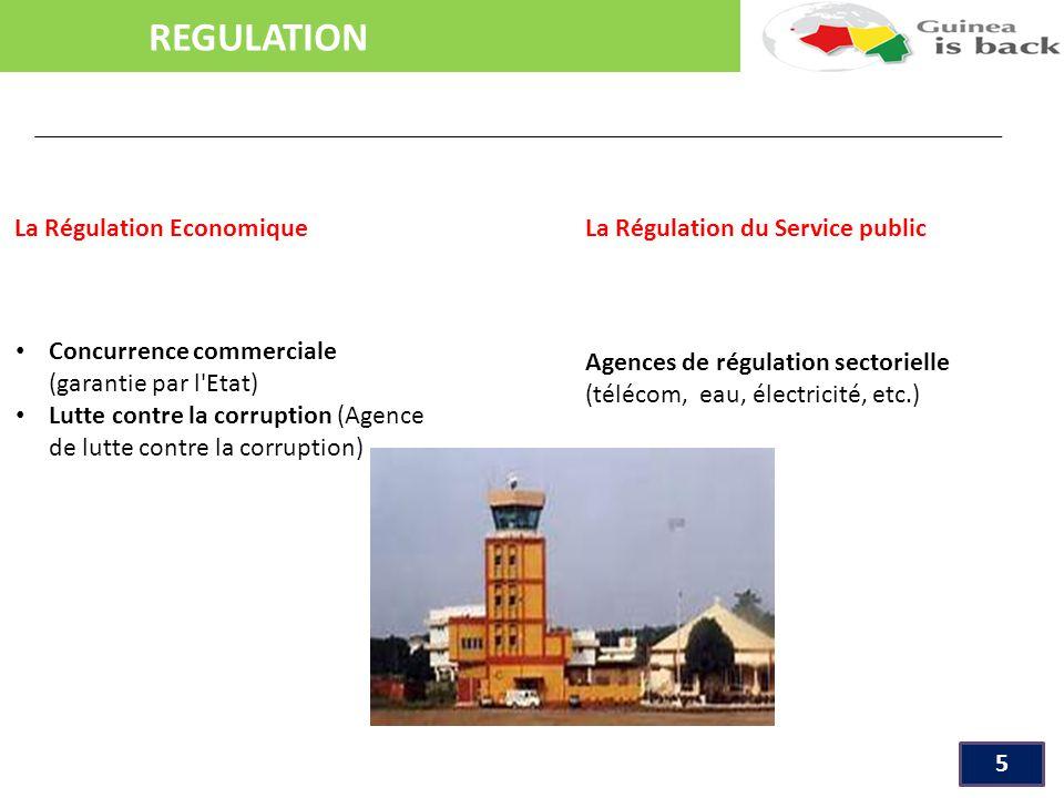 REGULATION 5 La Régulation Economique La Régulation du Service public Concurrence commerciale (garantie par l Etat) Lutte contre la corruption (Agence de lutte contre la corruption) Agences de régulation sectorielle (télécom, eau, électricité, etc.)