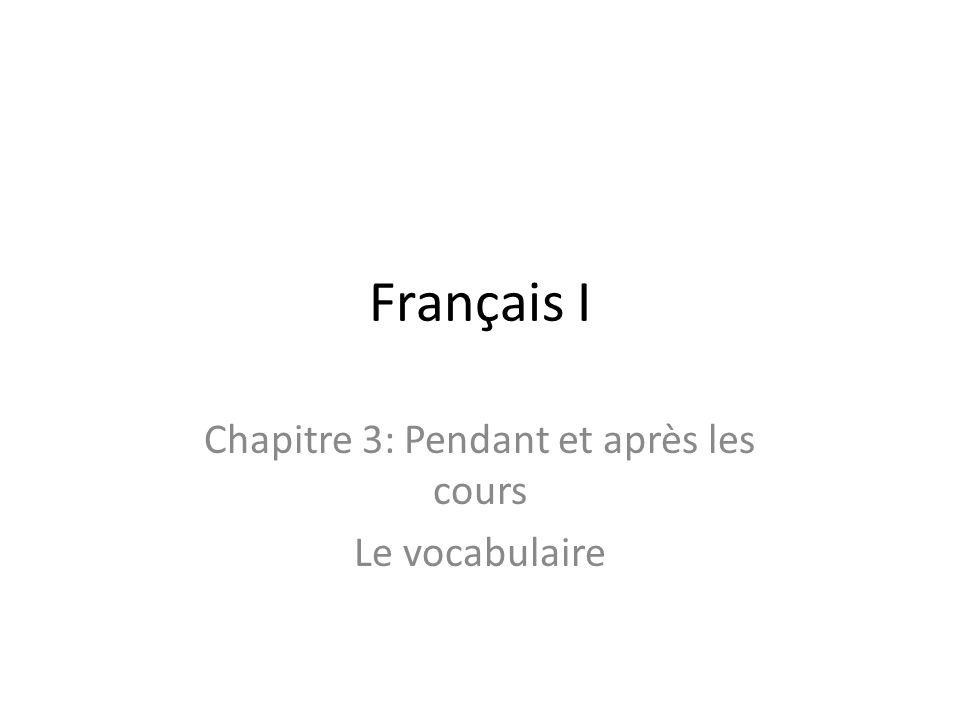 Français I Chapitre 3: Pendant et après les cours Le vocabulaire