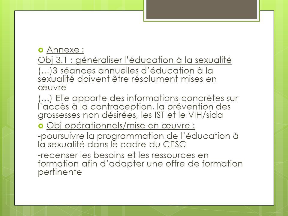  Annexe : Obj 3.1 : généraliser l'éducation à la sexualité (…)3 séances annuelles d'éducation à la sexualité doivent être résolument mises en œuvre (