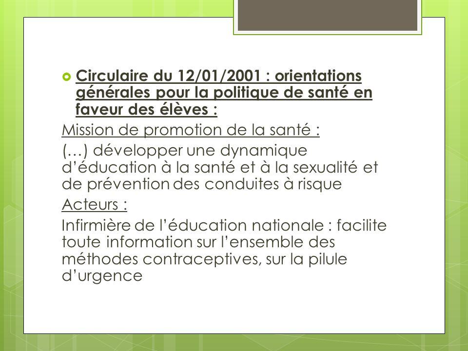  Circulaire du 12/01/2001 : orientations générales pour la politique de santé en faveur des élèves : Mission de promotion de la santé : (…) développe