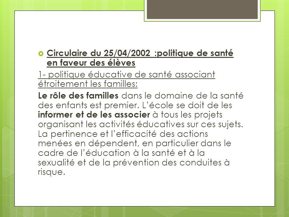  Circulaire du 25/04/2002 :politique de santé en faveur des élèves 1- politique éducative de santé associant étroitement les familles: Le rôle des fa