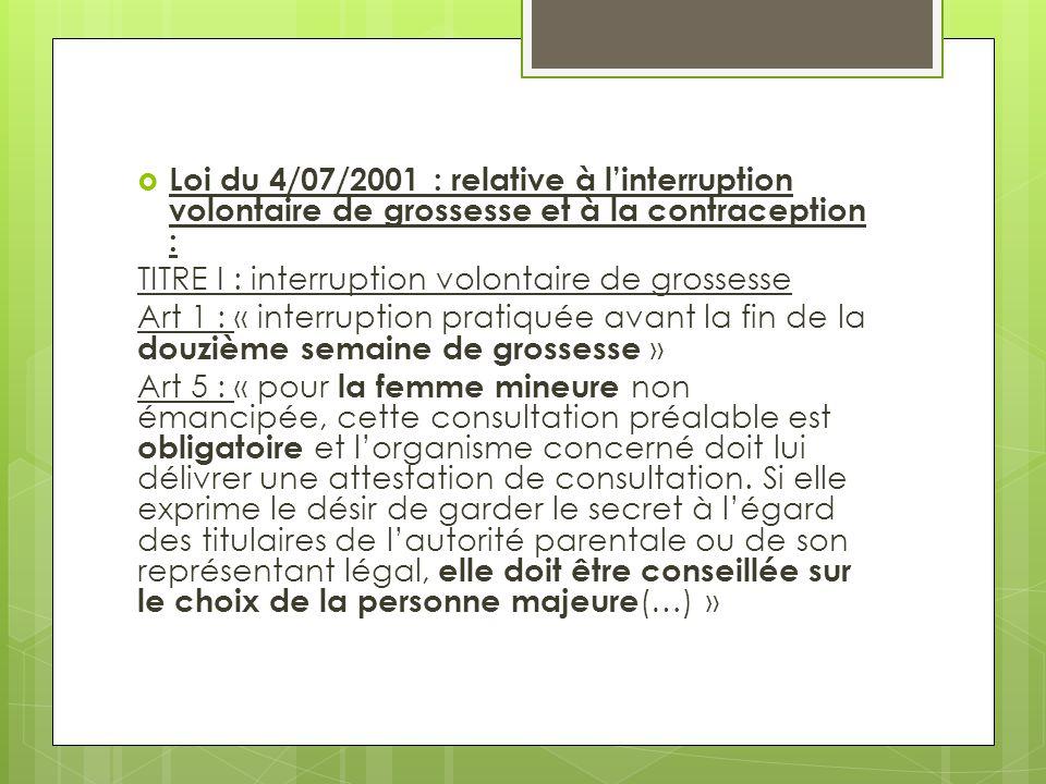  Loi du 4/07/2001 : relative à l'interruption volontaire de grossesse et à la contraception : TITRE I : interruption volontaire de grossesse Art 1 :