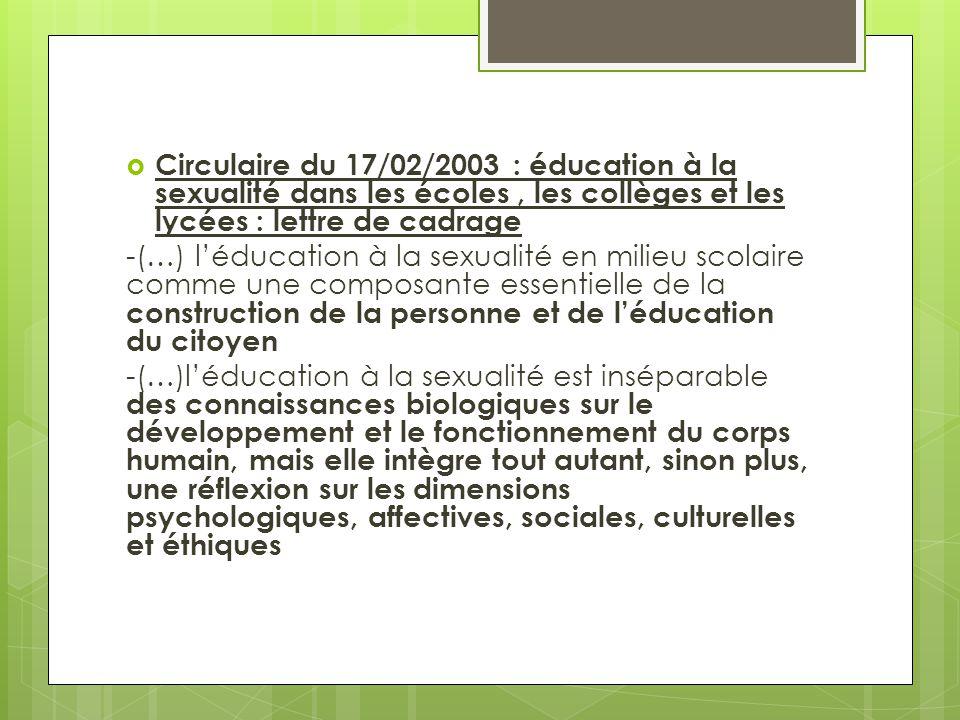  Circulaire du 17/02/2003 : éducation à la sexualité dans les écoles, les collèges et les lycées : lettre de cadrage -(…) l'éducation à la sexualité