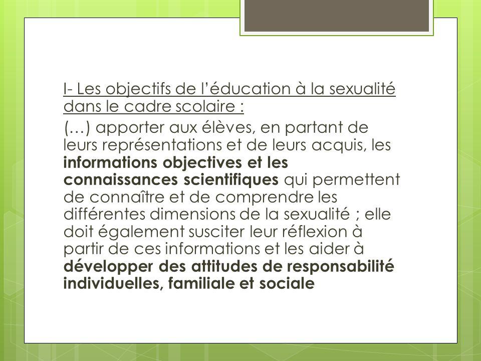 I- Les objectifs de l'éducation à la sexualité dans le cadre scolaire : (…) apporter aux élèves, en partant de leurs représentations et de leurs acqui